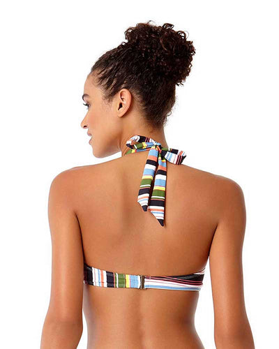 COMIC STRIPE HIGH NECK BIKINI TOP ANNE COLE 18ST12865-MULT