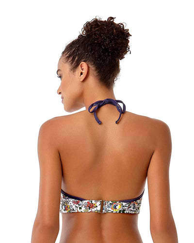 HAPPY STRAPPY HALTER BIKINI TOP ANNE COLE 18ST13364-WHML