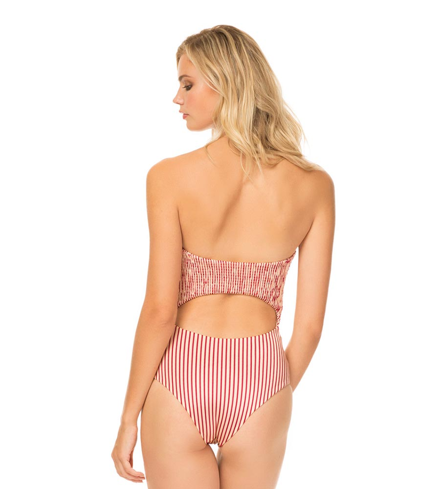 CRANBERRY CABANA STRIPE ROUX ONE PIECE BY TORI PRAVER