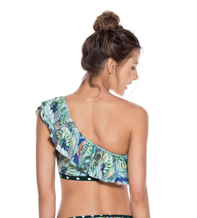 SWAMP RUFFLE ONE SHOULDER TOP ONDADEMAR 21188-SWA