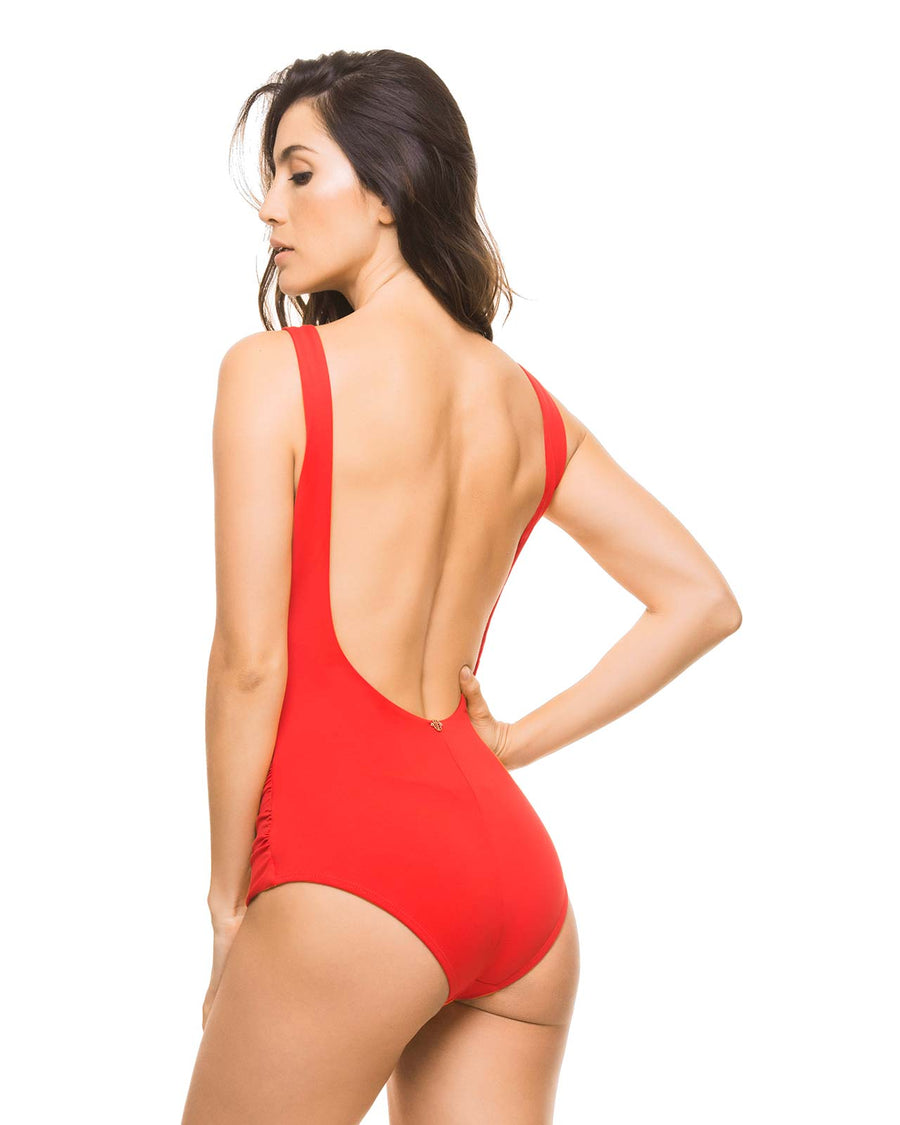 BASICS RED HALTER ONE PIECE BY ESTIVO