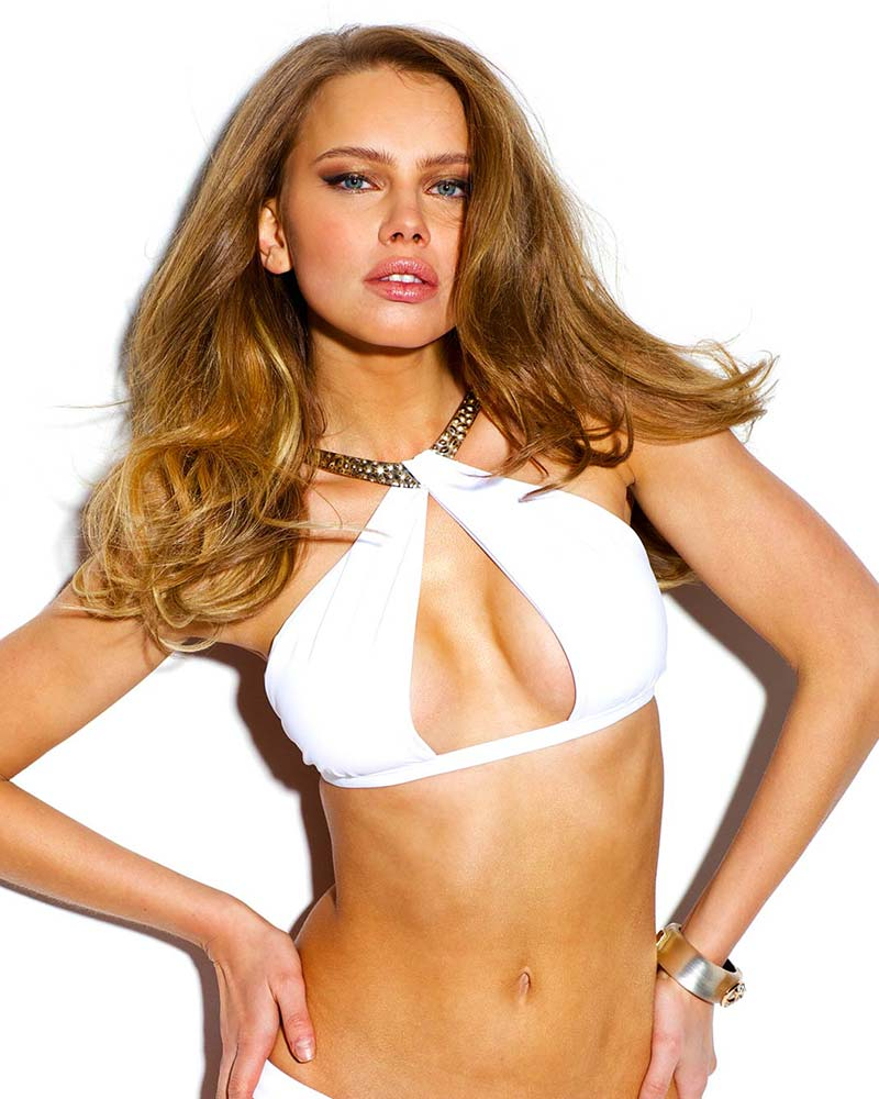 HAMMERED GOLD TWIST HALTER TOP SAUVAGE SWIMWEAR 4764WW