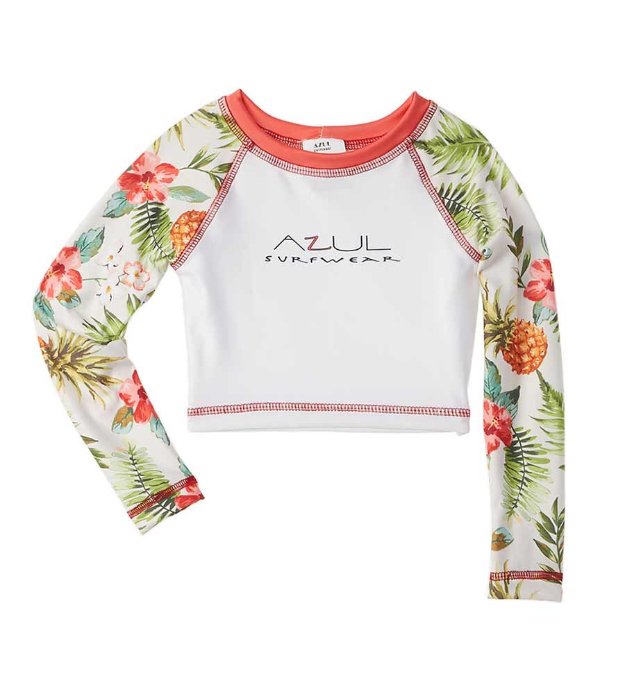 DON'T LEAF CROP RASHGUARD BY AZUL