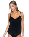 BLACK AVA TIERED TANKINI TOP SUNSETS 72BLCK