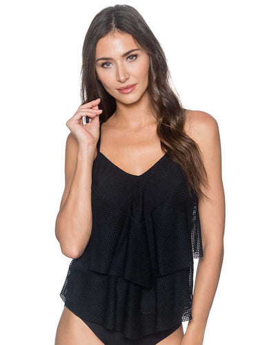 GRIDLOCK BLACK AVA TIERED TANKINI TOP SUNSETS 72GRBL