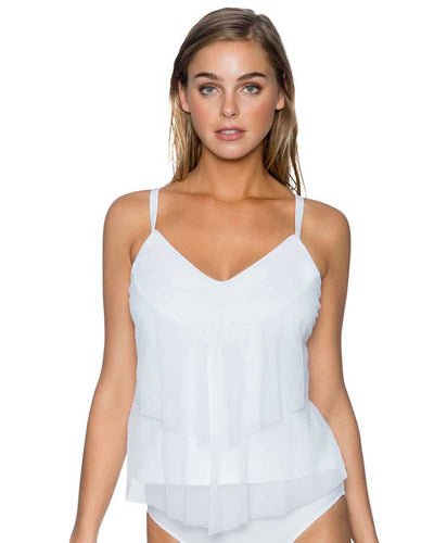 WHITE AVA TIERED TANKINI TOP SUNSETS 72WHIT