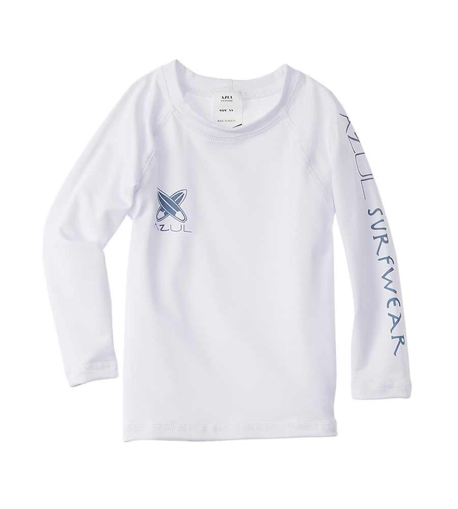 WHITE LONG SLEEVE RASHGUARD AZUL 7700-W