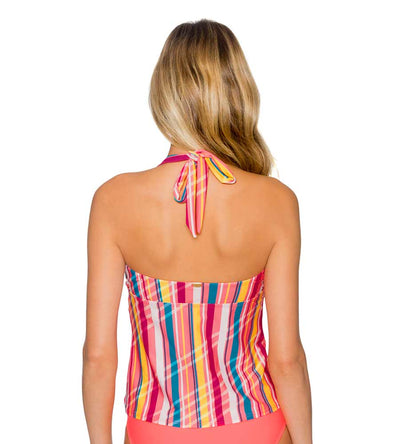 BUNGALOW STRIPE HAYDEN HALTERKINI TOP SUNSETS 84TBUNG