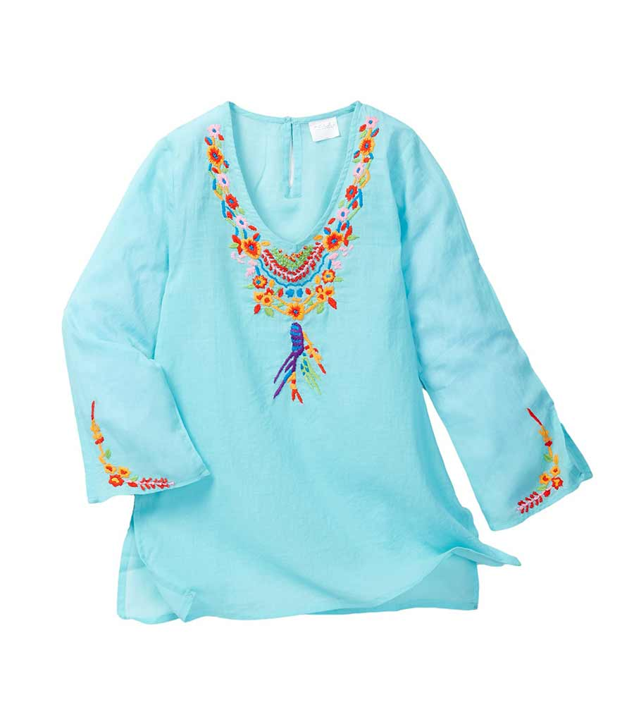 AQUA POCAHONTAS LONG SLEEVE COVER UP AZUL 7167-A