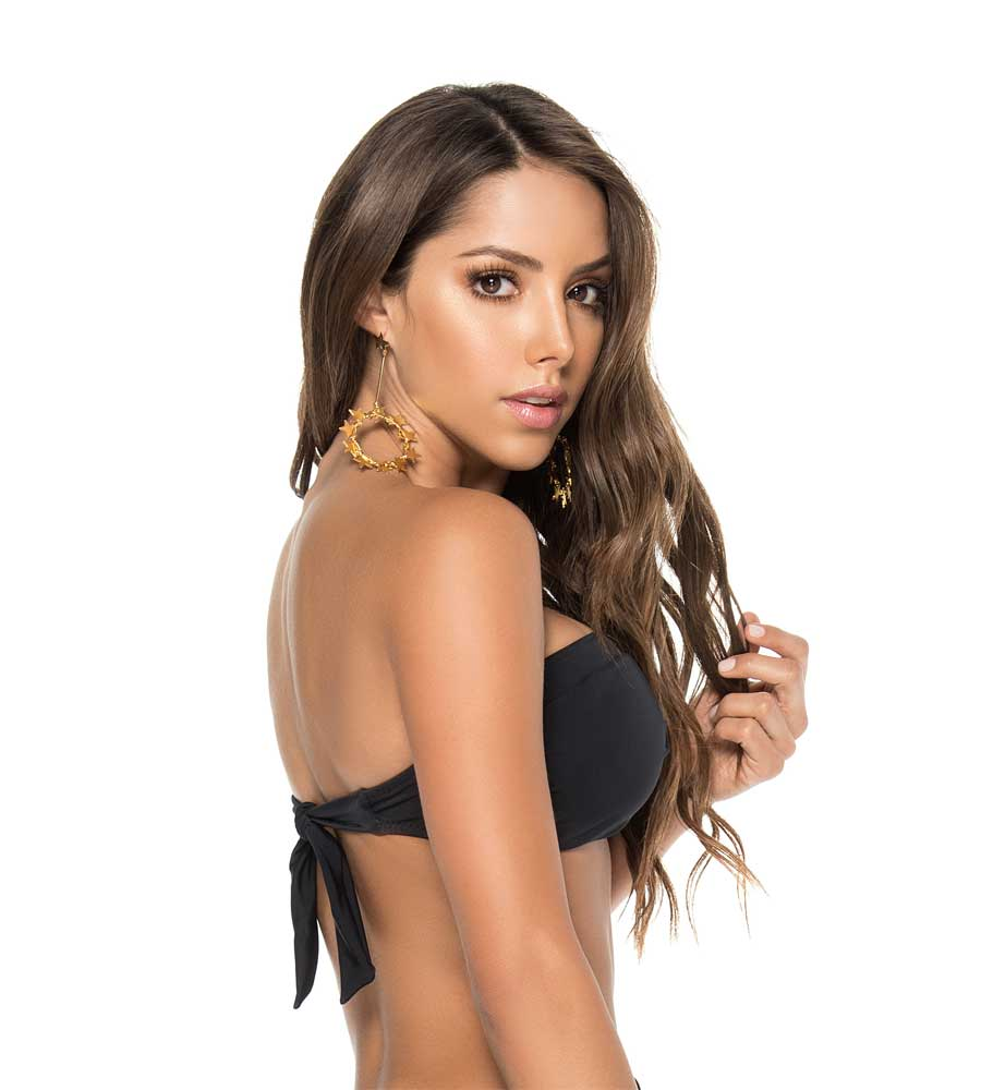 BLACK COLOR MIX TWIST BANDEAU TOP 2019 BY PHAX