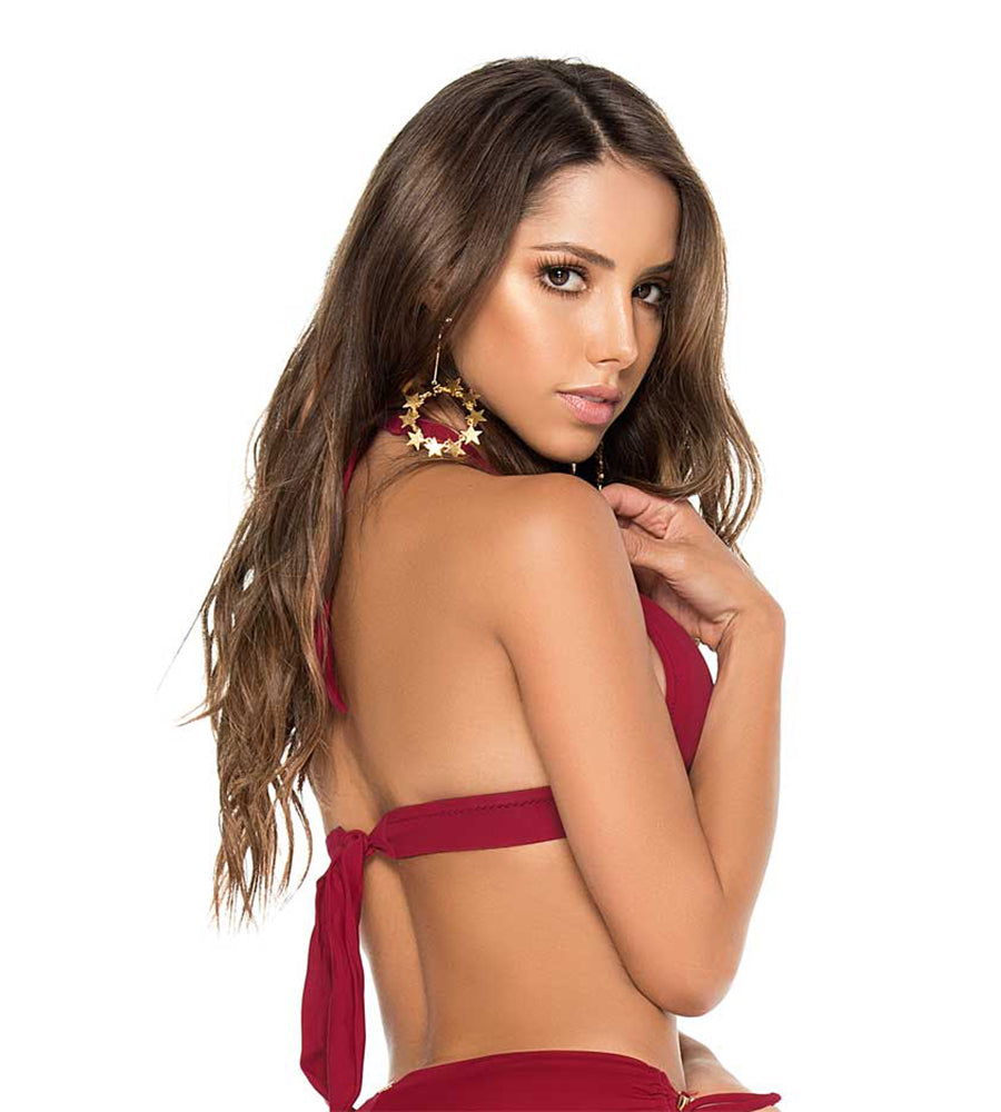 RED WINE COLOR MIX HALTER TOP PHAX BF16530015-507