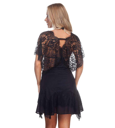 BLACK CHANTILLY TUNIC DESPI 01107