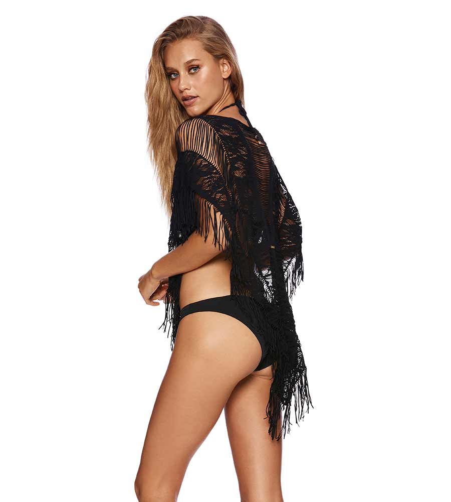 BLACK INDIAN SUMMER LACE PONCHO BY BEACH BUNNY