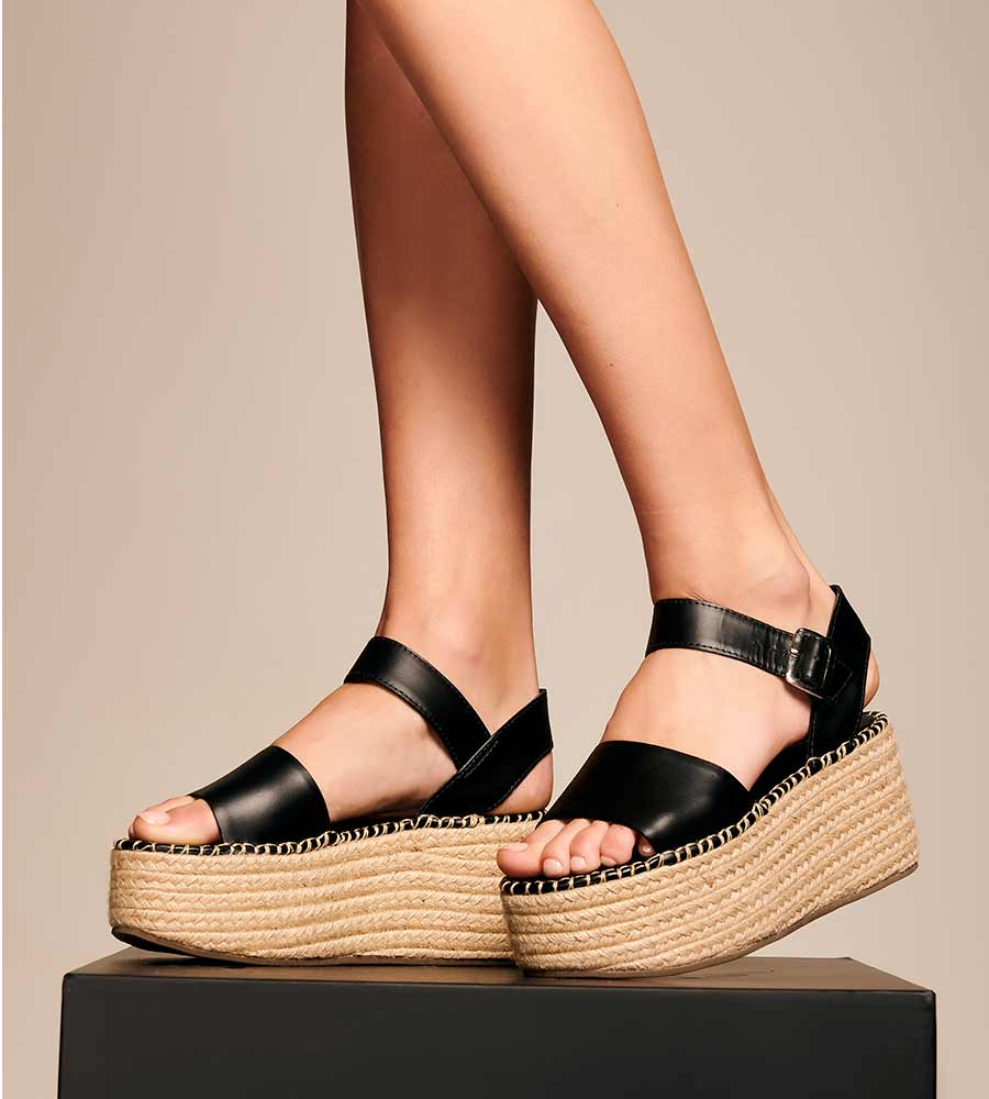 BLACK LEATHER PLATFORM ESPADRILLE TOUCHE 0S04002