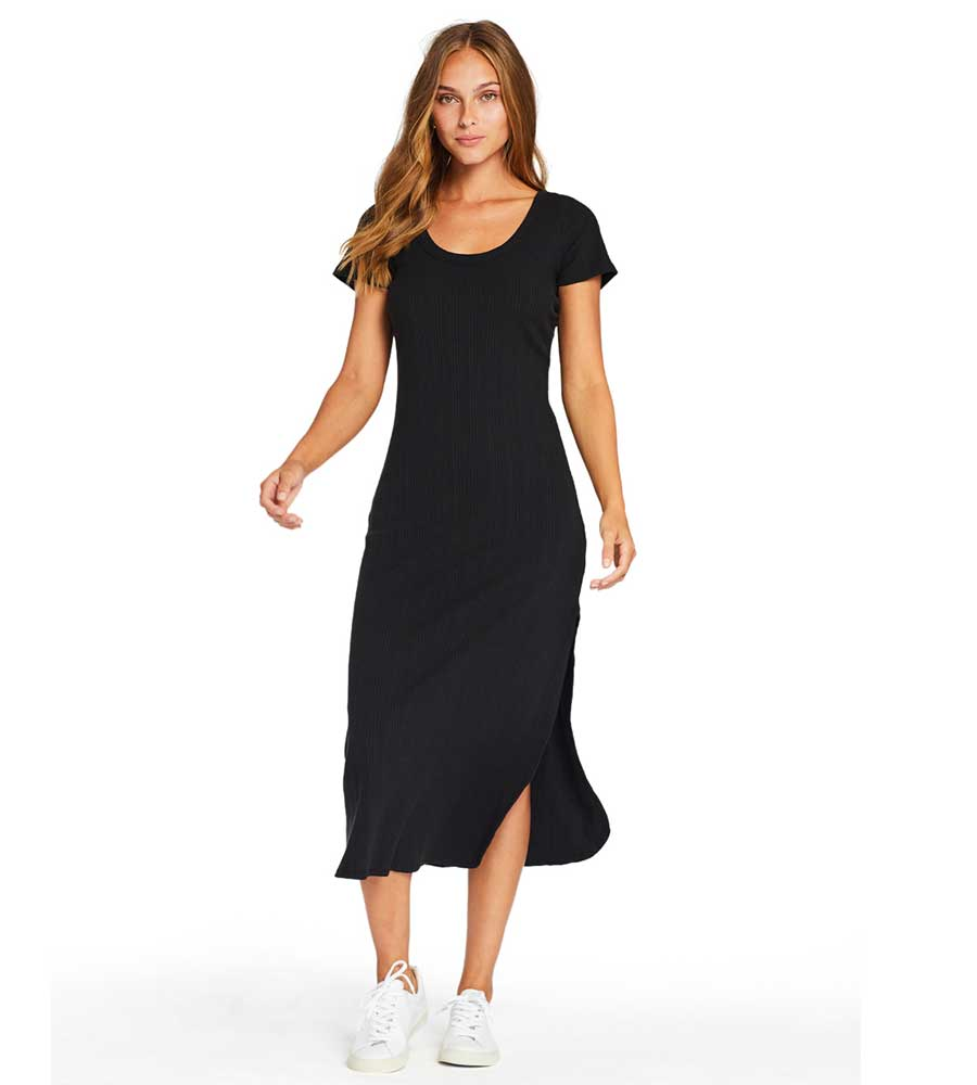 BLACK ORGANIC RIB CATALINA TEE DRESS VITAMIN A 120TDBOR