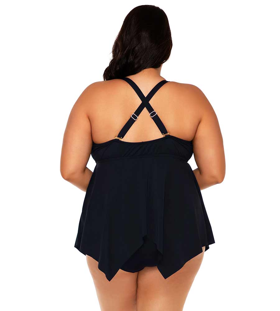 BLACK SAVANNAH KEYHOLE TANKINI TOP SUNSETS ESCAPE 579TBLCK