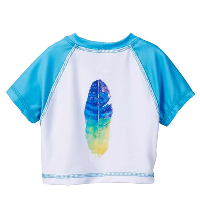 BLUE DANCING FEATHER CROP RASHGUARD AZUL 7087-B