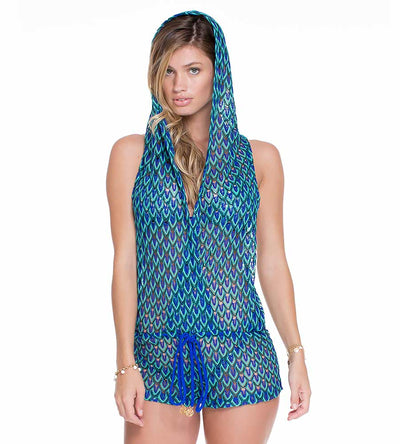 BLUE KISS HOODED ROMPER LULI FAMA L470849-340