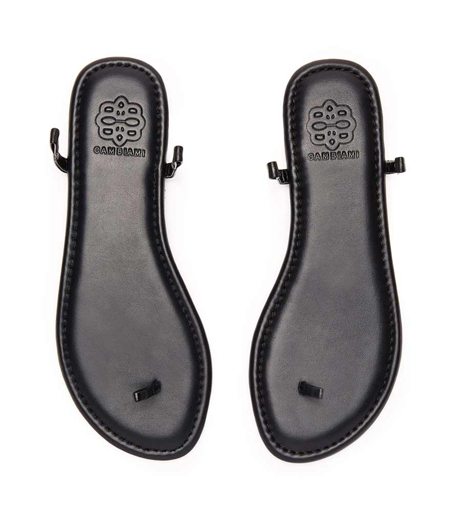 BLACK SANDAL_BLACK LEATHER PYRAMID STUD CAMBIAMI BSBLPS