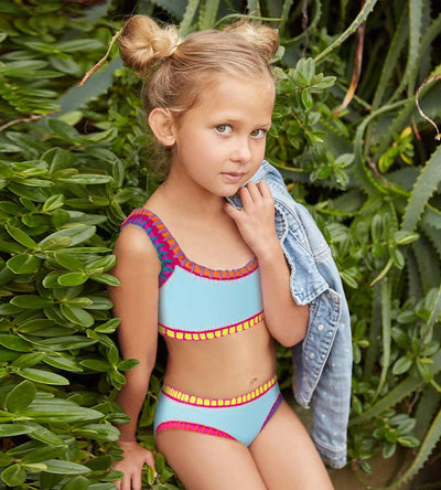 CABANA BLUE SPORTY RAINBOW EMBROIDERED GIRLS BIKINI PILYQ CAB-835B