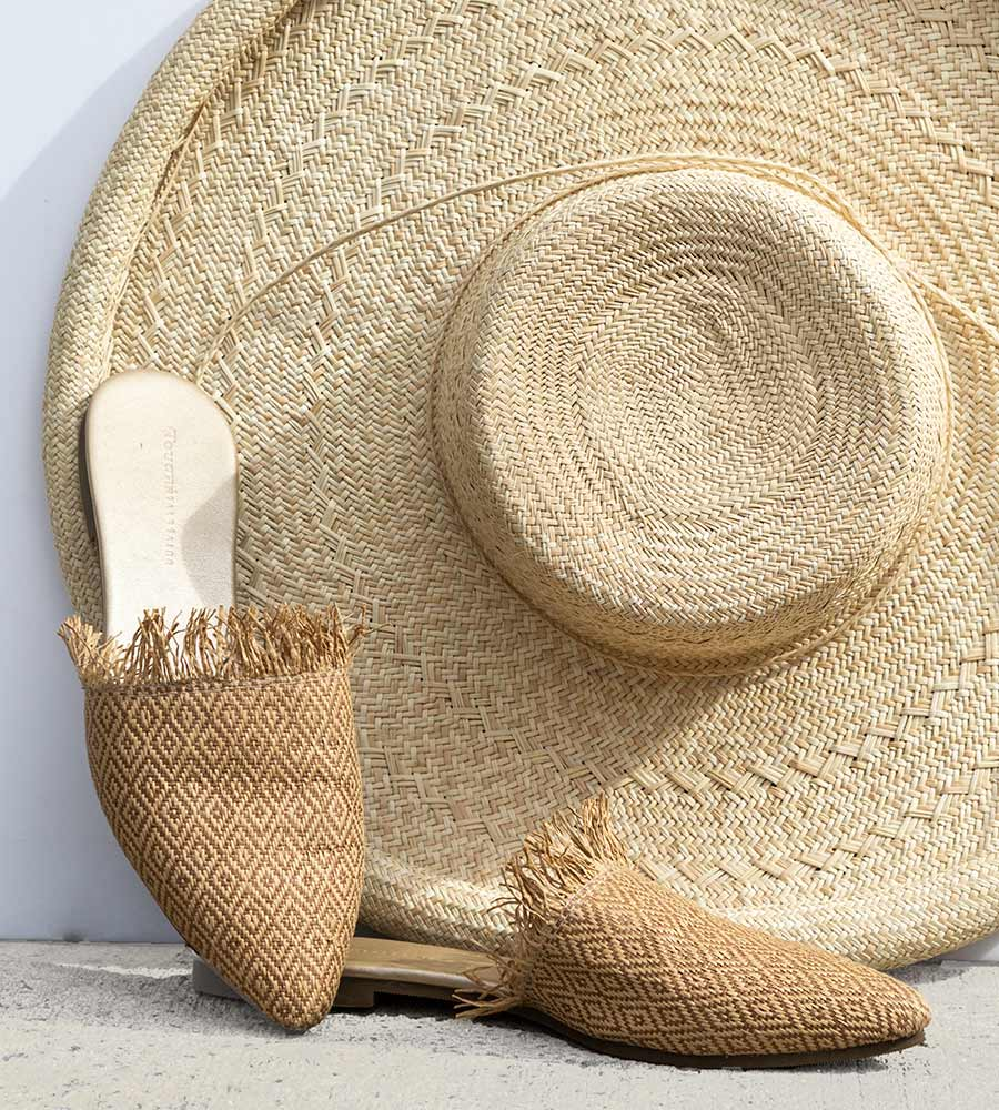 CHAI WOVEN RAFFIA SLIP ON SANDALS TOUCHE 0S52001