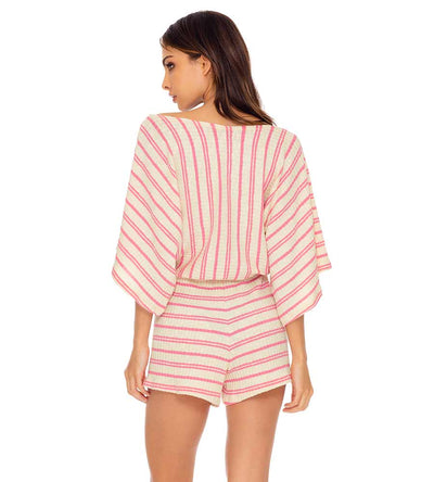 CHAMPAGNE POP ROSE OPEN SHOULDER ROMPER LULI FAMA L641L72-520
