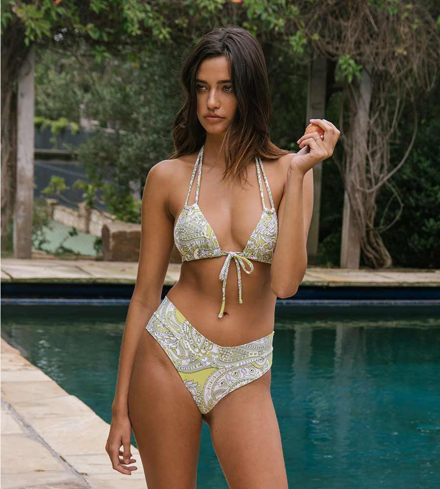 CHARTREUSE PAISLEY JULIA BIKINI BOTTOM BY MONTCE