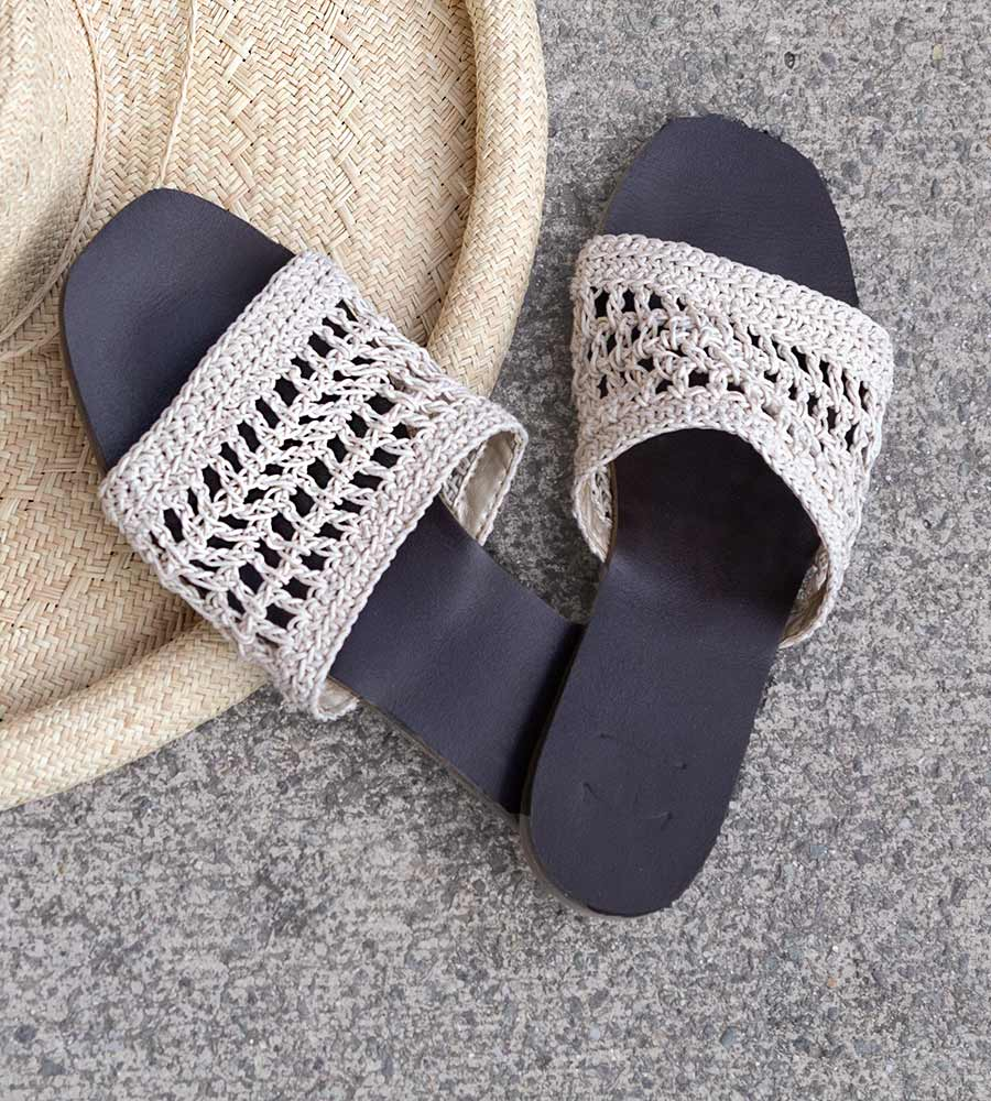 COCONUT MILK WOVEN FLAT SANDALS BY TOUCHE