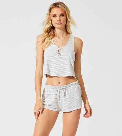 COZY UP GREY CAMERON CROP TOP BEACH BUNNY L1203T1-GRCM