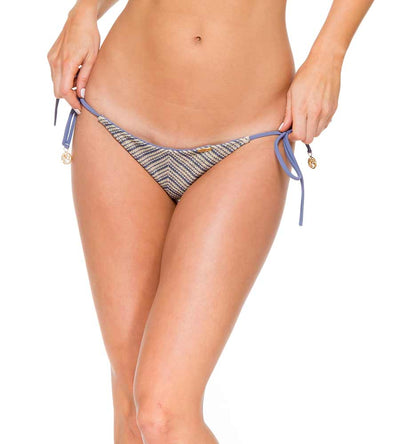 DESERT BABE BLUE MOON BRAZILIAN RUCHED TIE SIDE BOTTOM BY LULI FAMA