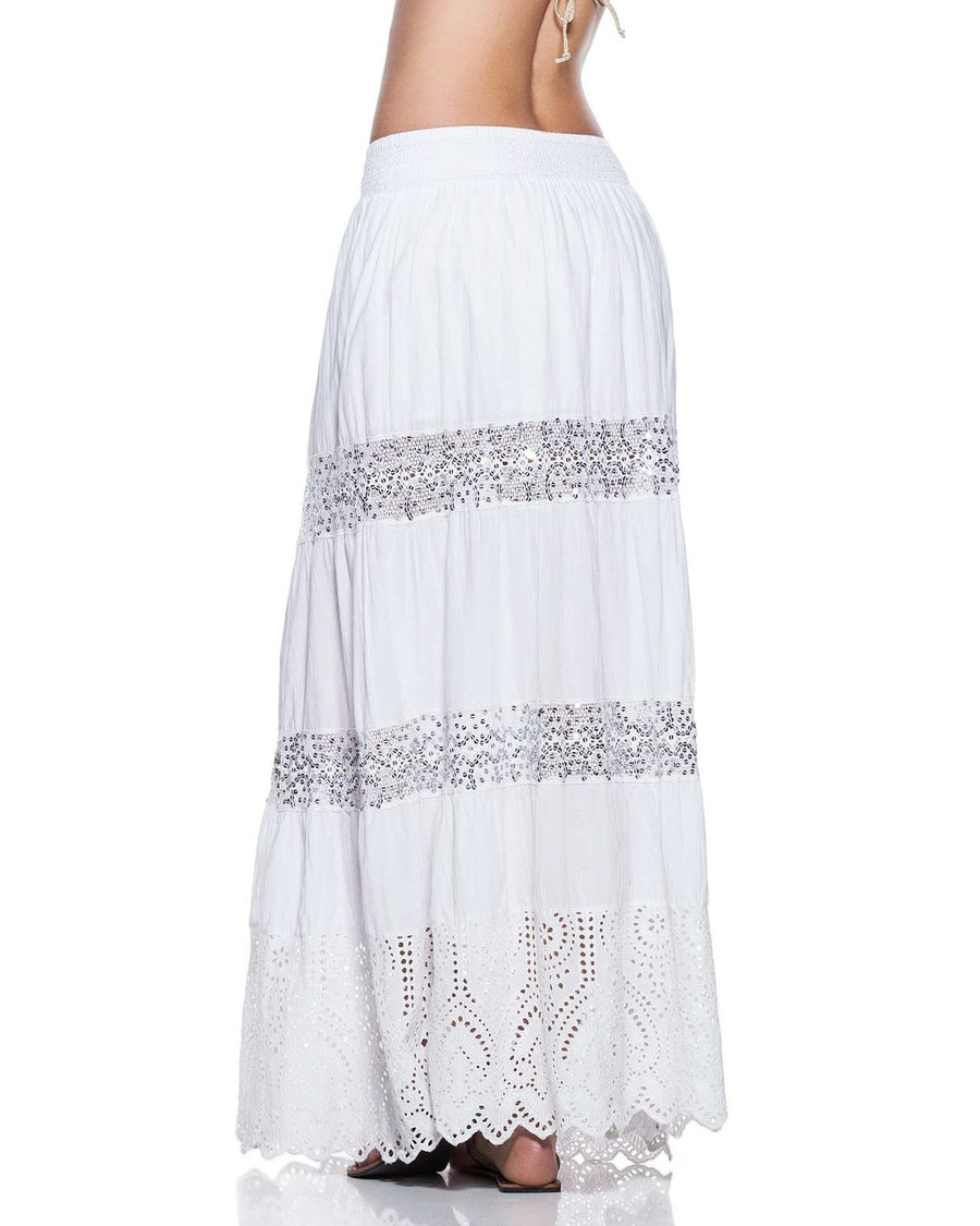 EMBROIDERED LONG SKIRT ONDADEMAR FLL019-WHN