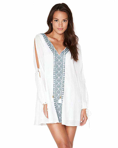 WHITE GOLD COAST TUNIC LSPACE GOCTU18-WHT