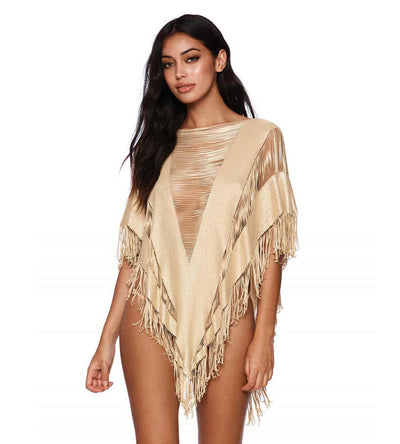 GOLD INDIAN SUMMER PONCHO BEACH BUNNY B16130C0-GOLD
