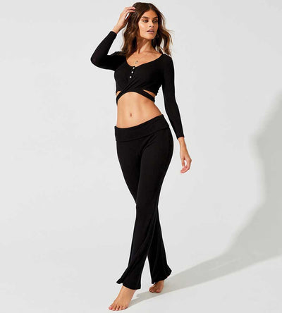 HAUTE & COLD BLACK LOLO WRAP TOP BEACH BUNNY L1204T2-BLCK