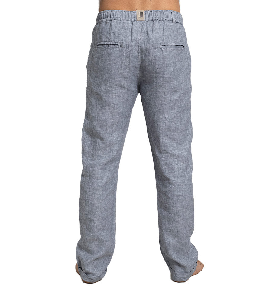 HEATHERED BLUE LINEN PANTS TOUCHE PH13G11