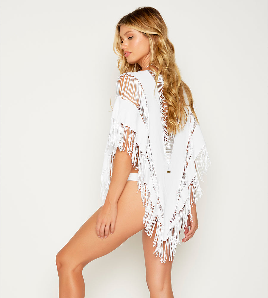 INDIAN SUMMER WHITE FRINGE PONCHO BY BEACH BUNNY