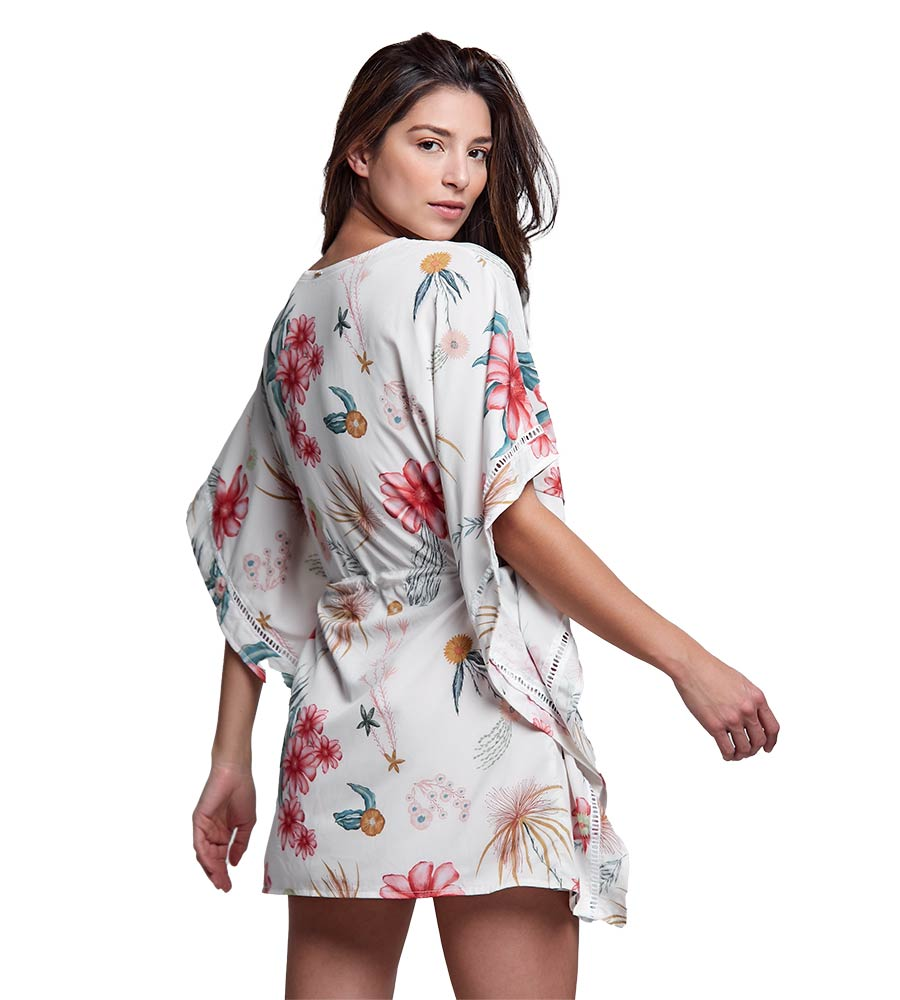 IVORY FLORAL HONORE KIMONO BOAMAR BW0107
