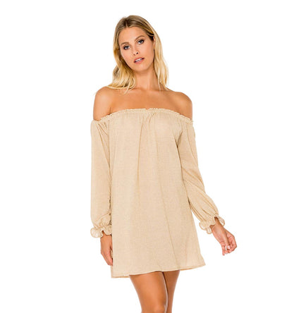 GOLD RUSH COSITA BUENA BELL SLEEVE SHIFT DRESS LULI FAMA L177N77-316