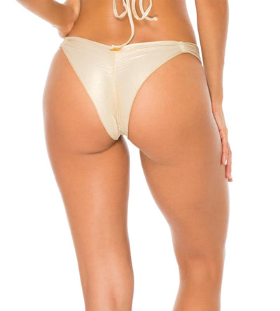 GOLD RUSH MAMBO GROMMET STRAPPY BRAZILIAN RUCHED BOTTOM LULI FAMA L561A53-316
