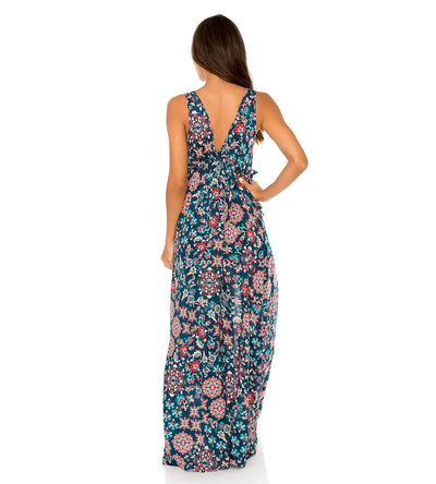 CORDOBA V NECK LONG DRESS LULI FAMA L613LE7-111
