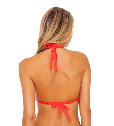LAST FLING RED HOT TRIANGLE HALTER TOP LULI FAMA L63673P-058