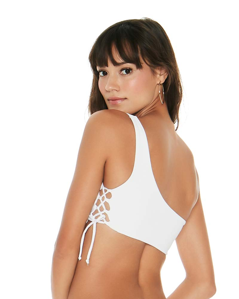 SENSUAL SOLIDS WHITE SILVER LINING TOP BY LSPACE