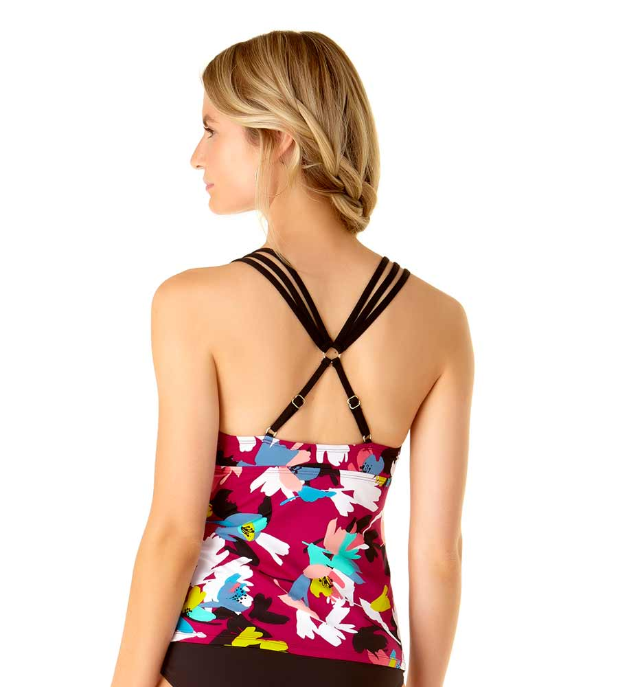 MAUI FLORAL STRAPPY TRIANGLE TANKINI BY ANNE COLE