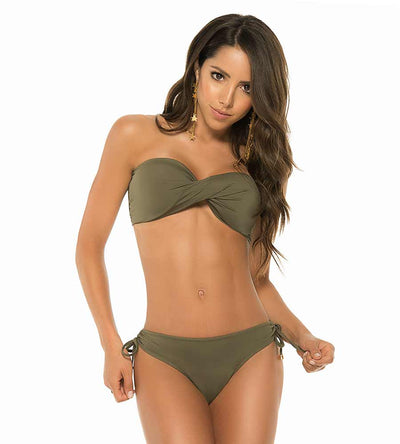 MILITARY GREEN COLOR MIX TWIST BANDEAU TOP PHAX BF16520019-303