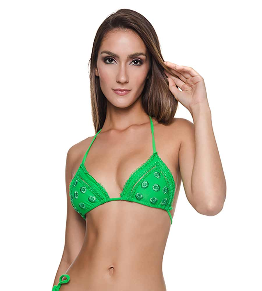 MINT LAISE TIE BIKINI TOP BY DESPI