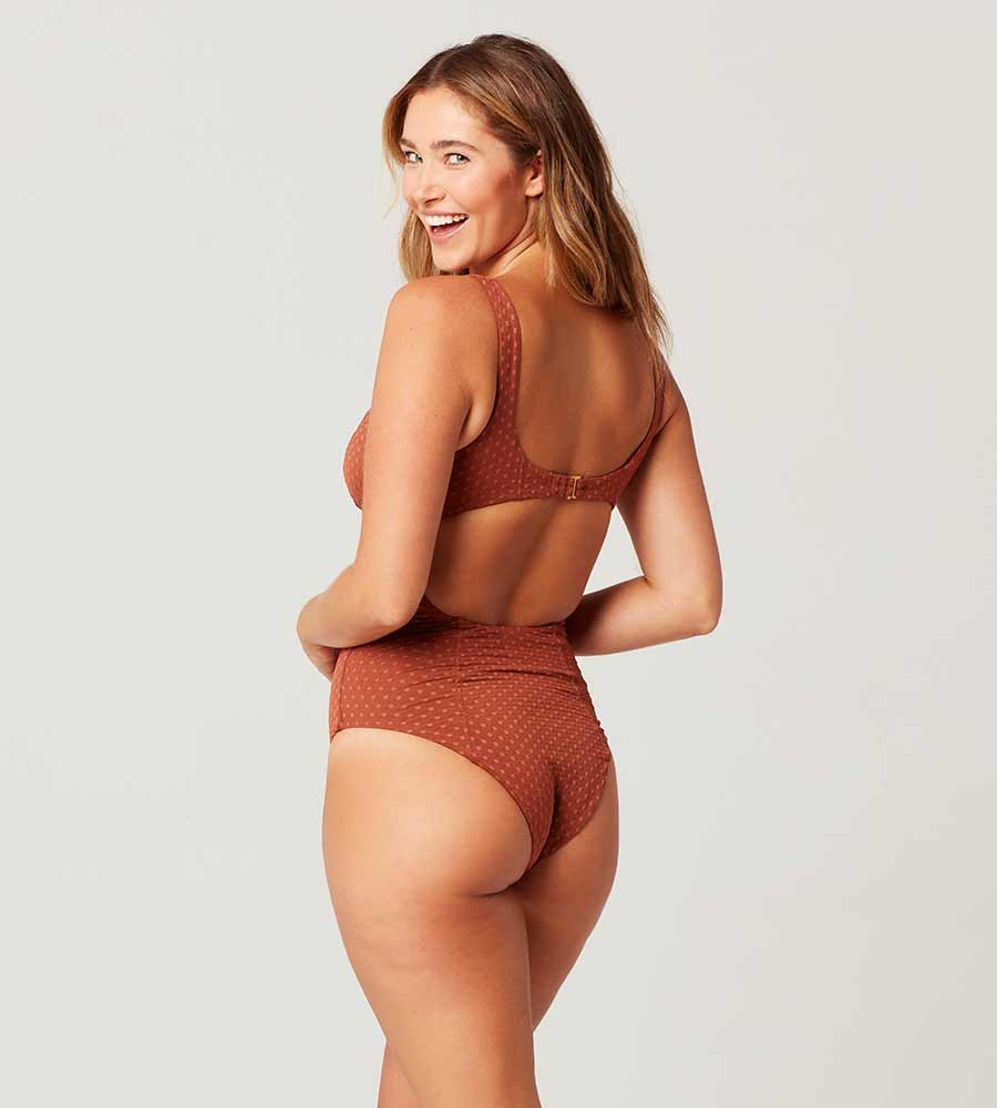ON THE DOT TEXTURE TOBACCO NICOLETTE ONE PIECE BY LSPACE