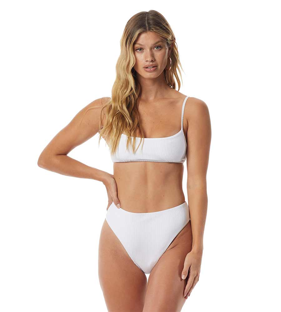 PARADISE RIB WHITE SAVANNAH HIGH WAIST CHEEKY BOTTOM TORI PRAVER 1S20SBSAPR-WHT