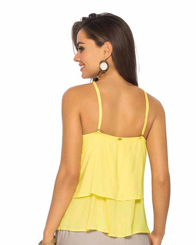 YELLOW TIERED RUFFLE TANK TOP PHAX PF11610036-720