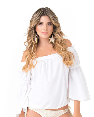 WHITE OFF SHOULDER BLOUSE PHAX PF11610049-100