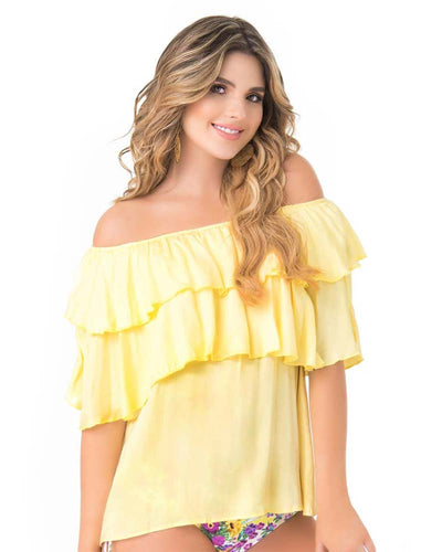 RUFFLED OFF SHOULDER YELLOW BLOUSE PHAX PF11610053-740